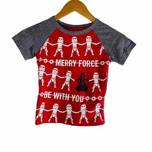 """Star Wars """"Merry Force Be With You"""" Boys Tee Sz:4T"""